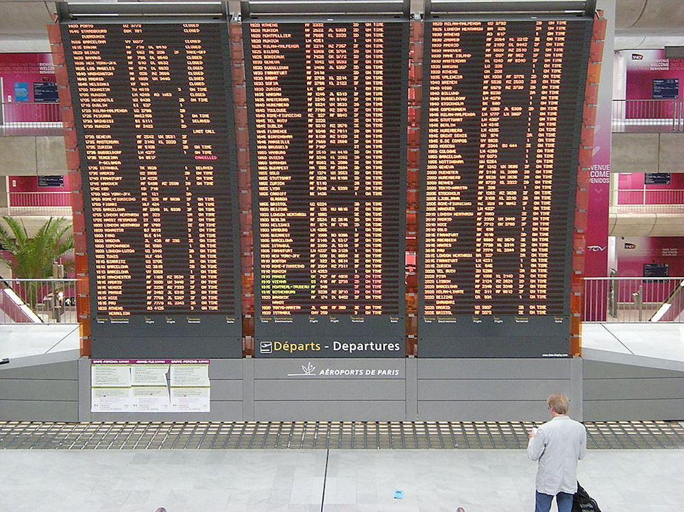 Tableau d'affichage des vols au dépat